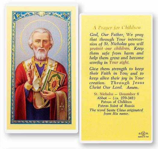 St. Nicholas Prayer For Children Holy Card