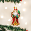 St. Nicholas with Gifts Glass Ornament