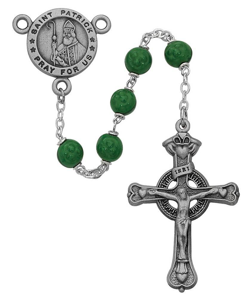 St. Patrick 7mm Green Rosary