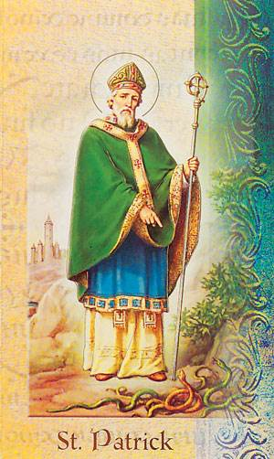 "Saint Patrick  2 Page Biography, Name Meaning, Patron Attributes, Prayer to Saint, Feast Day  Gold Stamped Italian Art 5.375"" X 3.25"""