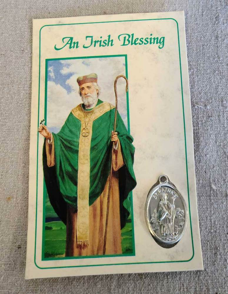 St. Patrick Irish Blessing Prayer Card with St. Patrick Medal, PKG/24 | CATHOLIC CLOSEOUT