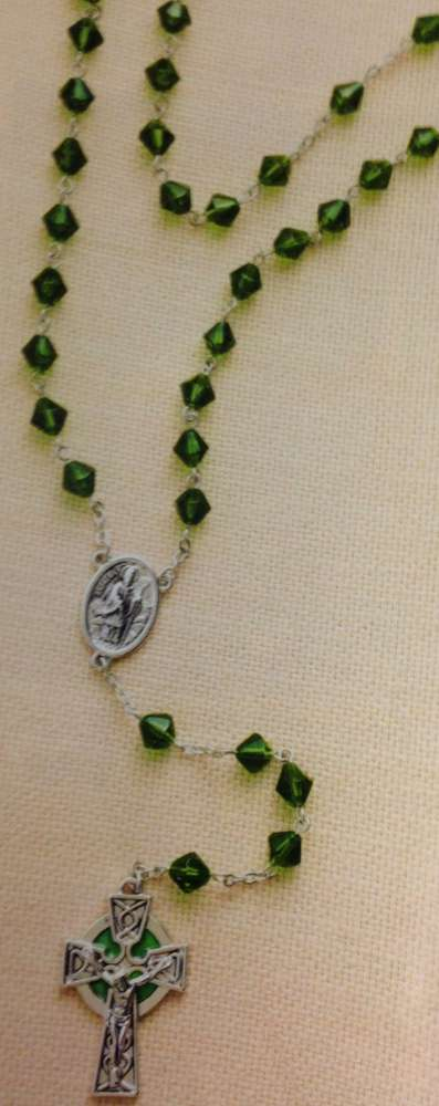 St. Patrick Irish Rosary 463878,green rosary, irish rosary, faceted beads, st. patrick rosary, irish crucifix