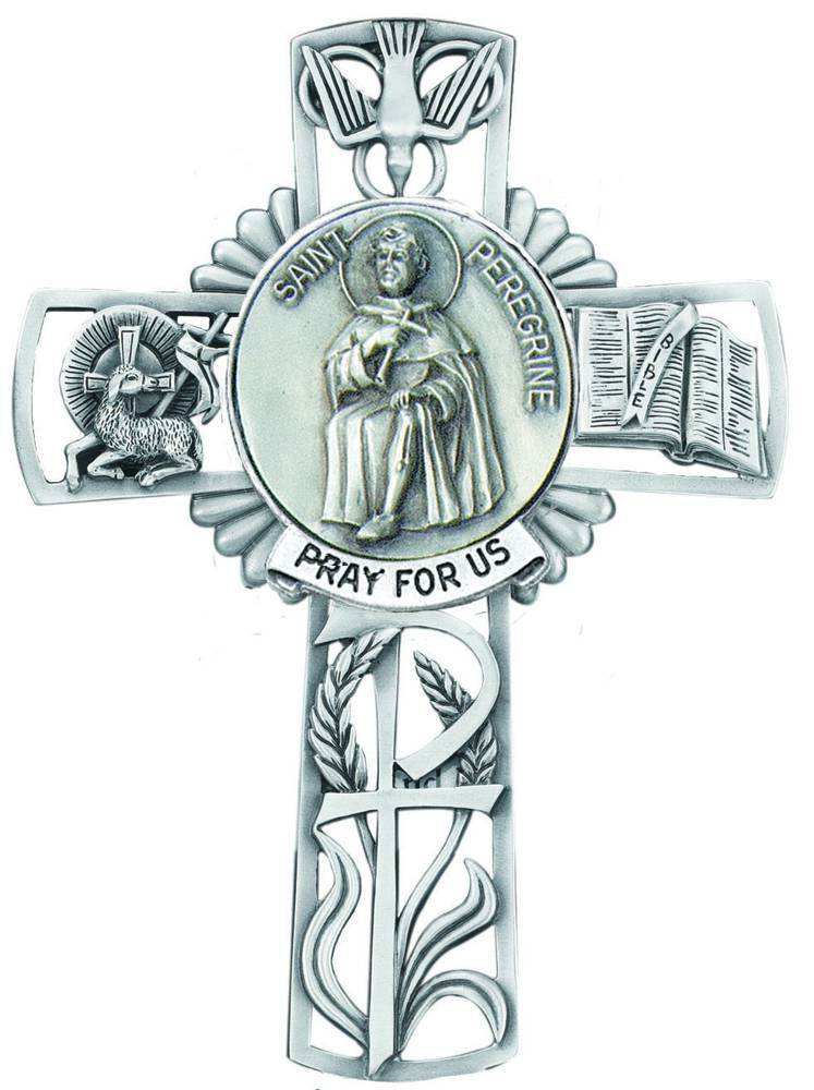 St. Peregrine Pewter Wall Cross