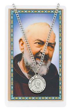 St. Pio Pewter Medal and Holy Card Set