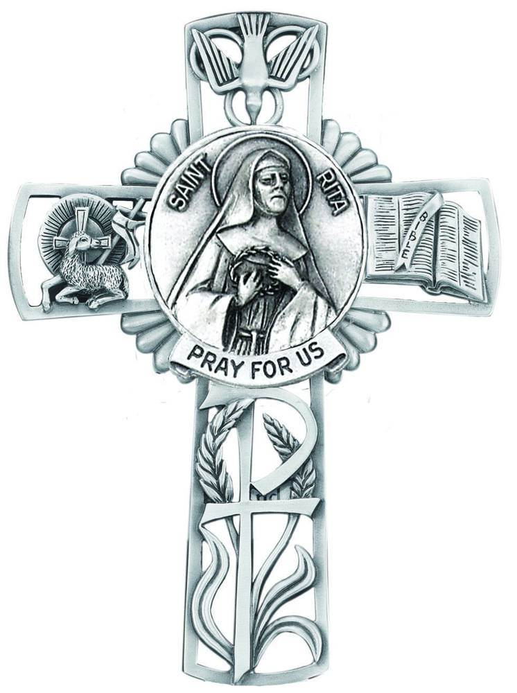 St. Rita Pewter Wall Cross