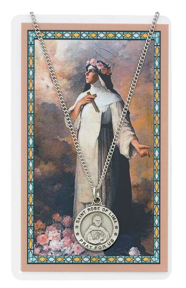 St. Rose of Lima Pewter Necklace and Holy Card Set