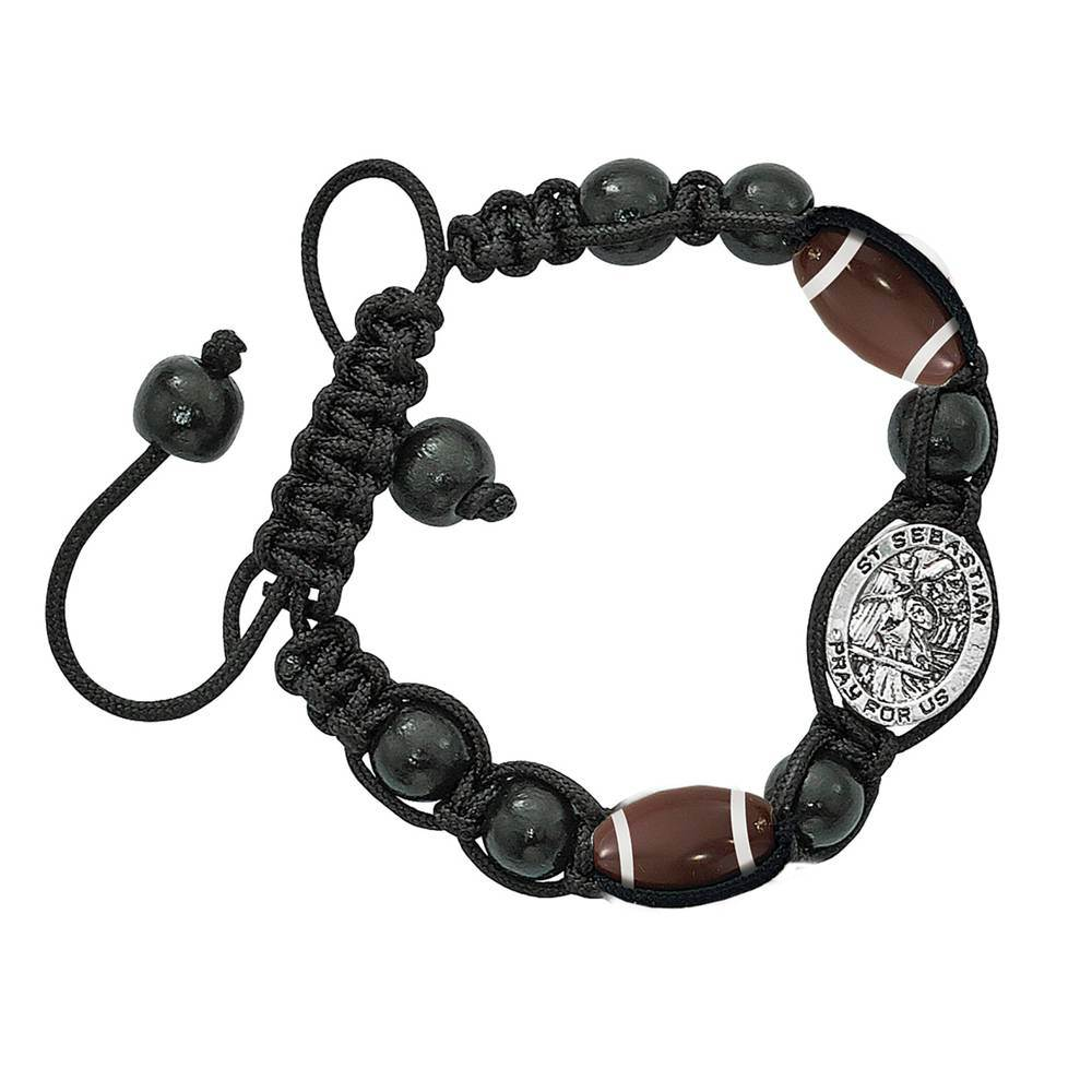 St. Sebastian Football Corded Bracelet