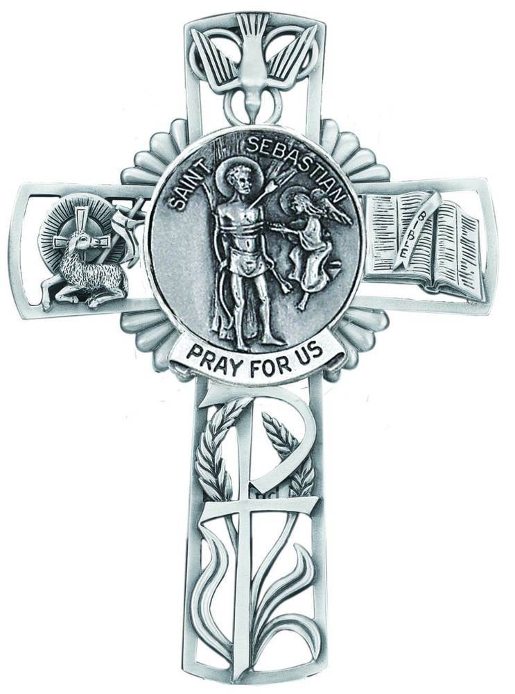 St. Sebastian Pewter Wall Cross