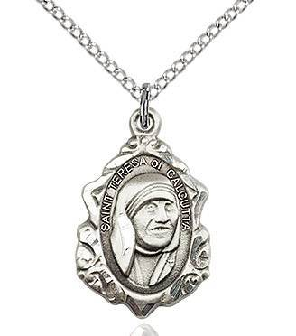 "St. Teresa of Calcutta Sterling Silver Fancy Medal on 18""Chain"