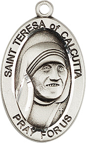 "St. Teresa of Calcutta Sterling Silver Medal Only MT,Patron saint, medals, oxidized medal,1"" medal, medal only, sacramental gift, special occasion gift,4123TC, saint mother teresa"