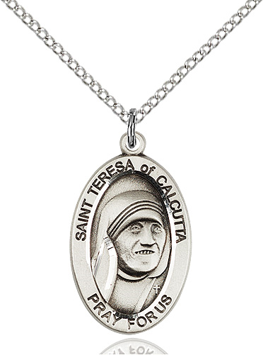 "St. Teresa of Calcutta Sterling Silver Medal on 18""Chain MT,patron saint, patron saint rosary, rosary sacramental gifts, Blessed Teresa of Calcutta medPatron Saint Rosary,patron saint of ,Amethyst, silver plated,4123TC/18S, MOTHER TERESA"