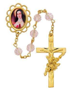 St. Therese 7mm Gold with Roses Rosary