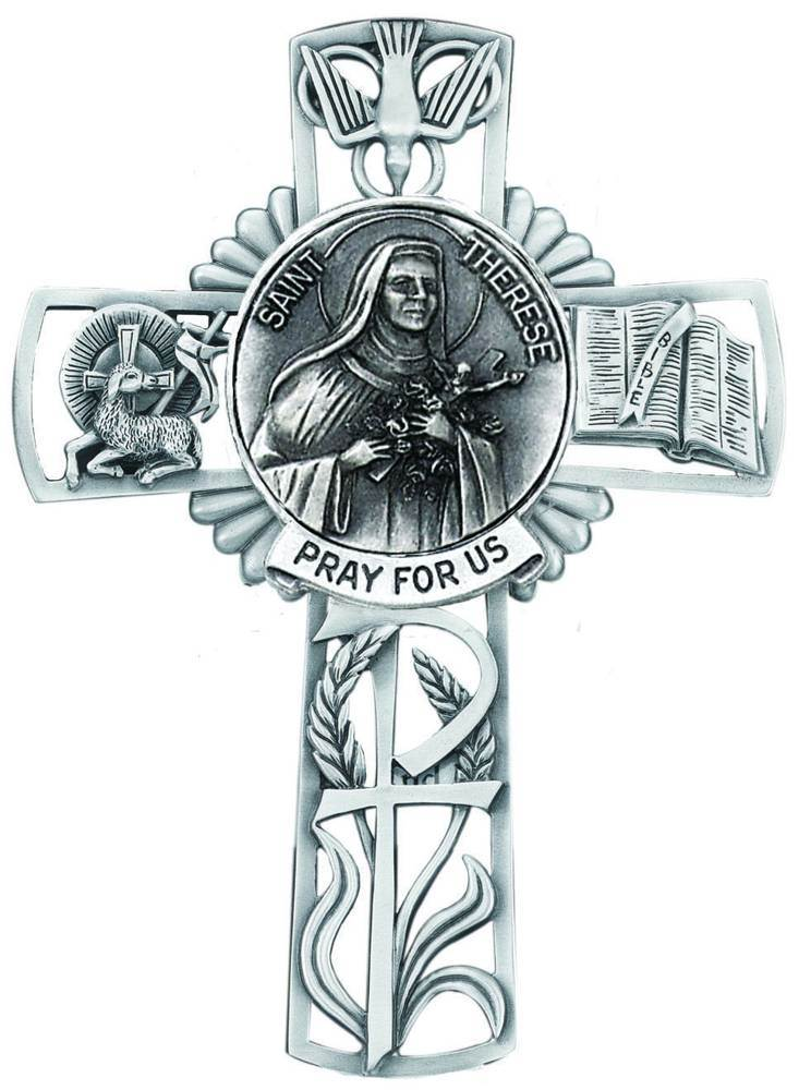 St. Therese Pewter Wall Cross