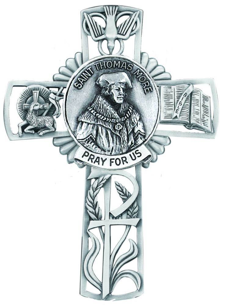 St. Thomas More Pewter Wall  Cross