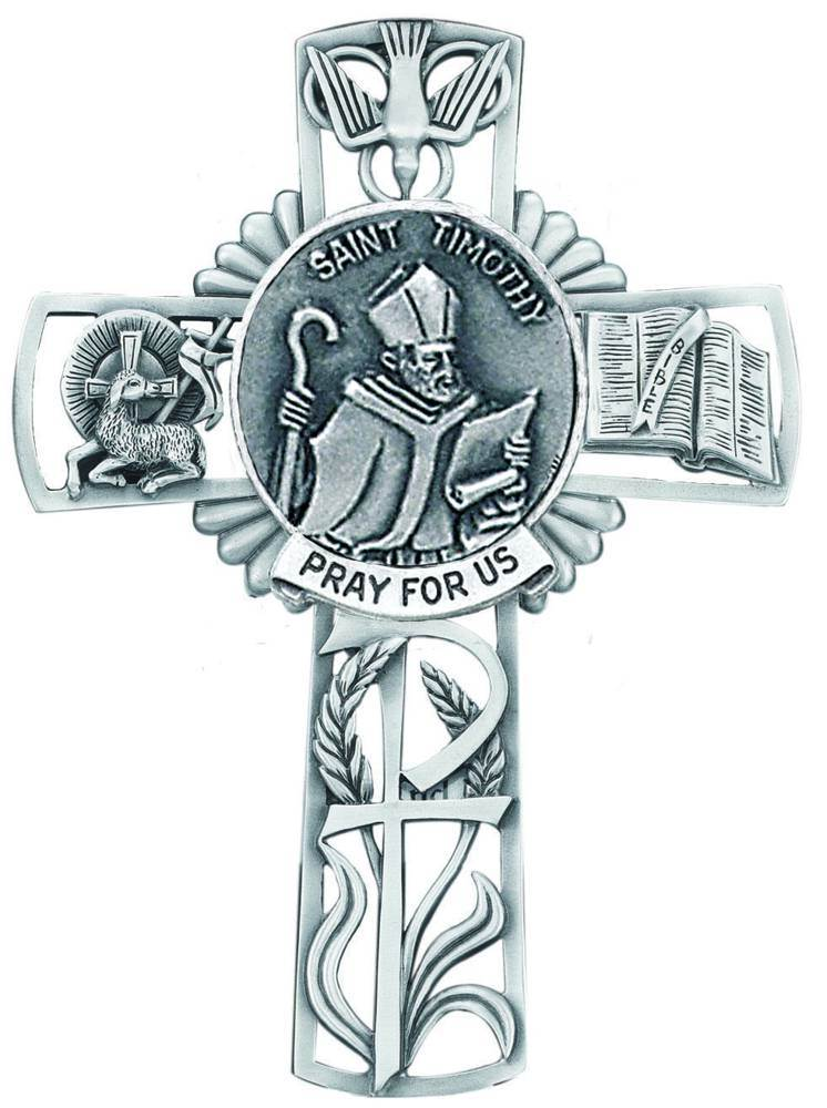 St. Timothy Pewter Wall Cross