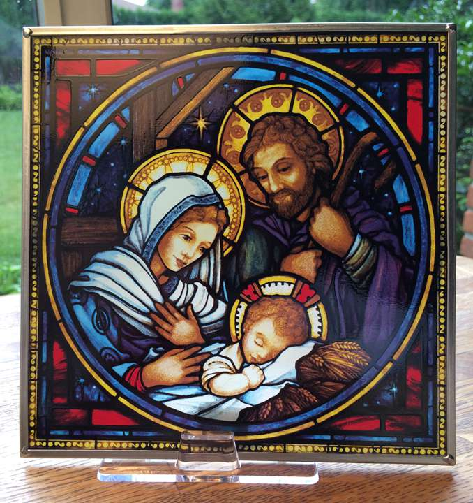 Stain Glass Nativity Hanging