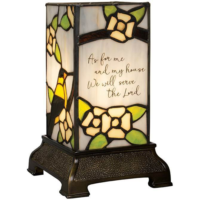 Stained Glass 'As for Me and My House' Lamp