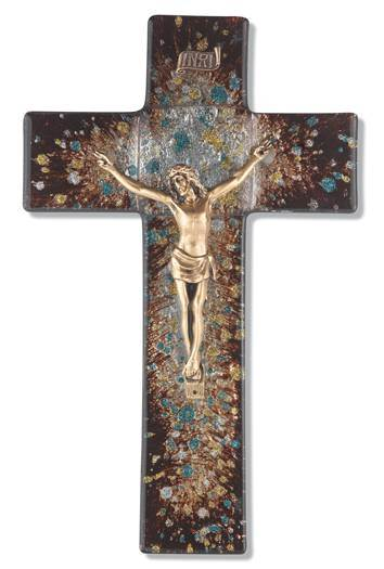 "10"" RICH BROWN SPECKLED GLASS CROSS WITH GOLD CORPUS"