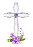 "Standing Acrylic Floral Cross, 7.5"" tall"
