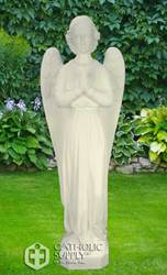 "Standing Angel 24"" Vinyl Outdoor Statue, White Finish"