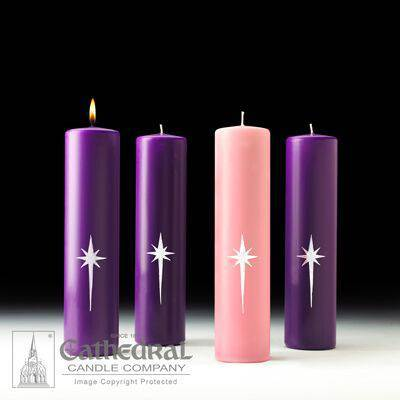 Star of Magi Advent Candles 3x12/3 Purple 1 Rose