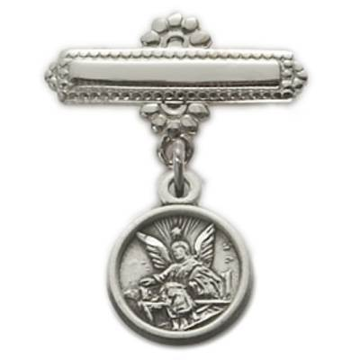 Sterling Silver Baby Guardian Angel Medal on Sterling Silver Bar Pin angel pin, guardian angel pin, baby angel gift, angel present for baby, angel baby, angel for baby, guardian angel jewelry, angel jewelry, angel pin, guardian angel pin, baby pin, infant pin, christening pin, bar pin, baptism pin