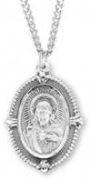 "Sterling Beaded Scapular Medal On 24"" Stainless Chain"