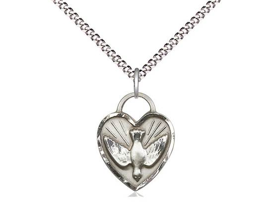 Sterling Silver Confirmation Heart Pendant on a 18 inch Light Rhodium Light Curb Chain. ?Gift Boxed.