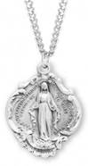 "Sterling Large Baroque Miraculous Medal on 20"" Chain"