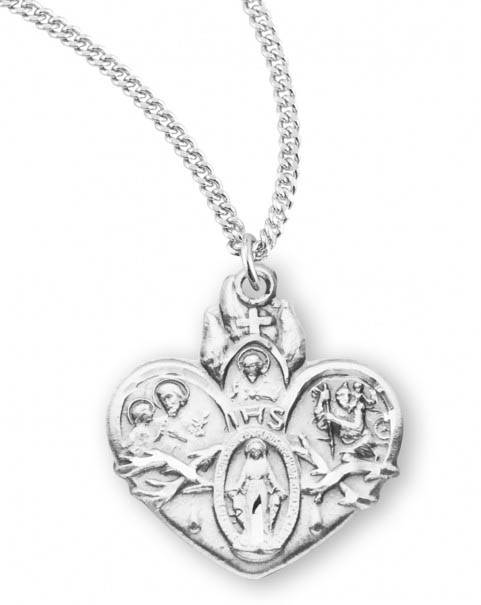 "Sterling Silver Heart Shape 4-Way Medal on 18"" Chain"
