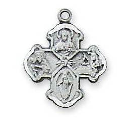"Sterling Silver 4-Way Cross on 16"" chain"