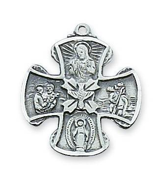 "Sterling Silver 4-Way Cross on 18"" chain"