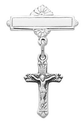 Sterling Silver Baby Bar Pin With Crucifix