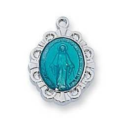Sterling Silver Baby Blue Miraculous Medal