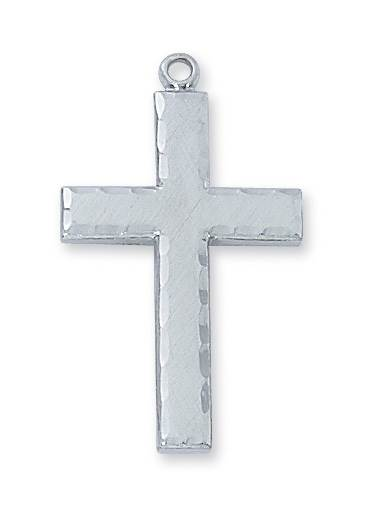 "Sterling Silver Beveled Cross on 24"" Chain"