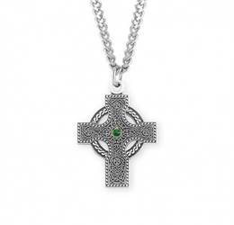 "Sterling Silver Celtic Cross with Emerald Center on 20"" Chain"