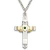"Sterling Silver Claddagh Cross with Emerald on 18"" Chain"