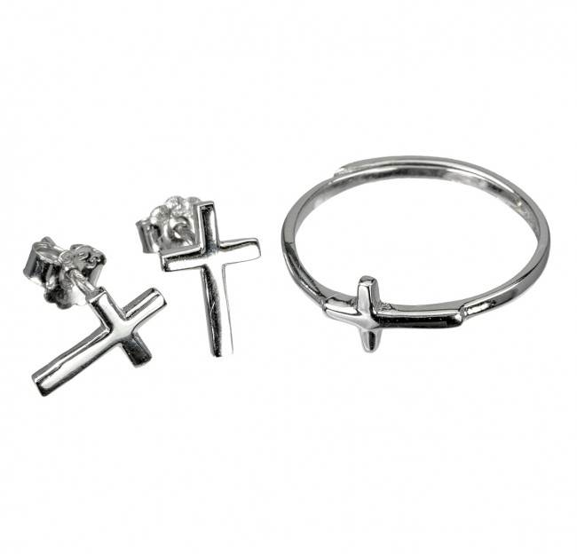 Sterling Silver Cross Earring and Adjustable Ring Set