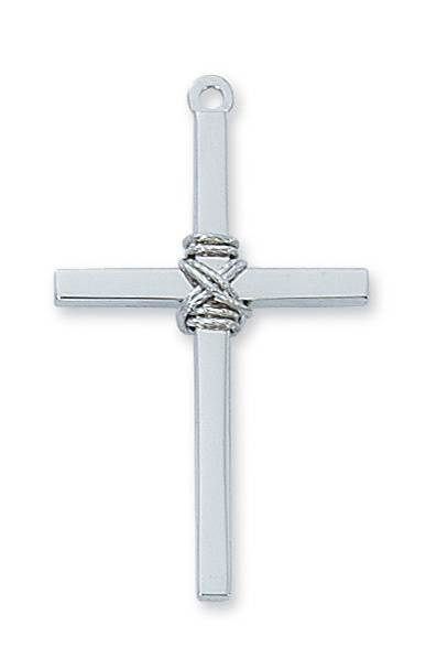 "Sterling Silver Cross W/Rope Accent on 24"" Chain"