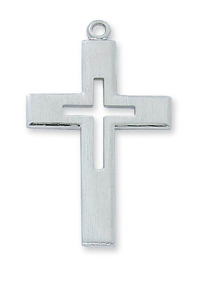 Sterling Silver Cut-Out Cross on 24 Inch Chain