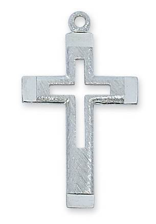 Sterling Silver Cut-Out Engraved Cross
