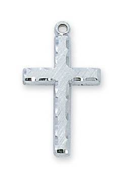 "Sterling Silver Engraved Cross On 18"" Chain"