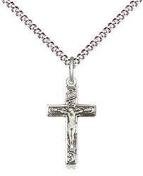 Sterling Silver Engraved Crucifix on Chain
