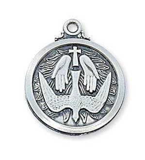 "Sterling Silver Holy Spirit Medal on 20"" chain"