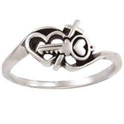Sterling Silver Ladies Cross Christian Purity Ring - Key/Heart