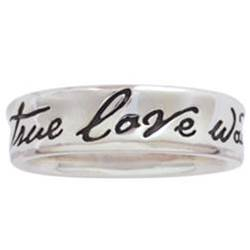 Sterling Silver Ladies True Love Waits Purity Ring - Concaved/Fancy Script