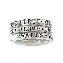 Sterling Silver Ladies True Love Waits Purity Rings - Stackable Set of 3