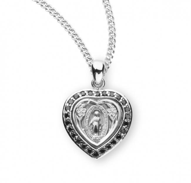 Sterling Silver Miraculous Heart Medal Jet Black