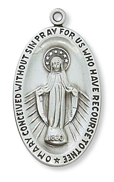 "Sterling Silver Miraculous Medal W/24"" chain"