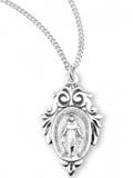 Sterling Silver Miraculous Medal with Fancy Leaf on 18 inch Chain
